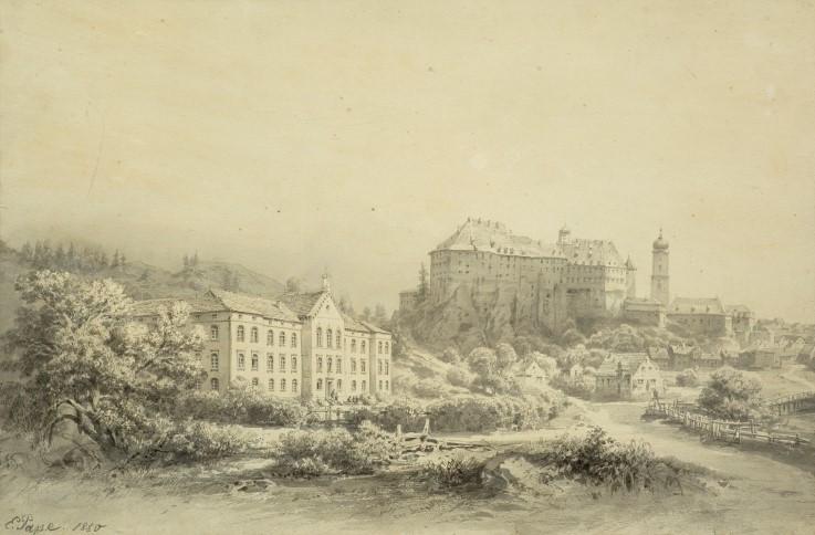 Das neu errichtete Landesspital, überragt vom benachbarten Schloss Sigmaringen, lavierte Bleistiftzeichnung von Eduard Pape, 1850 (Vorlage: Kreisarchiv Sigmaringen)