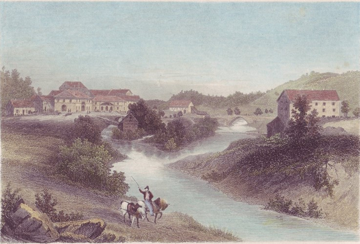 Abb. 12 Das Hüttenwerk Laucherthal, Stahlstich von 1841 (Vorlage: Kreisarchiv Sigmaringen)