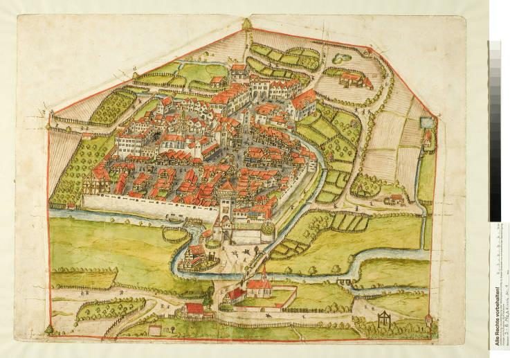 Abb. 5 Stadt und Schloss Meßkirch 1576, kolorierte Pinselzeichnung (Vorlage: Generallandesarchiv Karlsruhe)