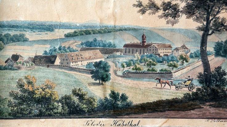 Abb. 7 Ansicht des Klosters Habsthal um 1830, Aquarell von X. Vollmer (Vorlage: Kloster Habsthal)