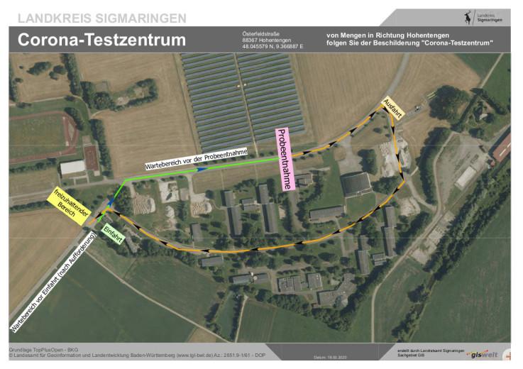 Detailplan zum Corona Testzentrum
