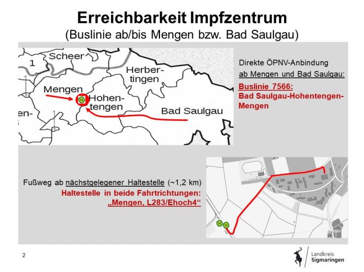 Erreichbarkeit Impfzentrum Buslinie Mengen Bad Saulgau