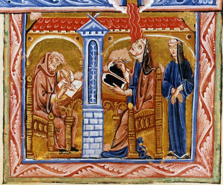 Die Visionärin Hildegard von Bingen in einer Abbildung aus dem Lucca-Codex des 12. Jahrhunderts (Vorlage: Kloster Eibingen)