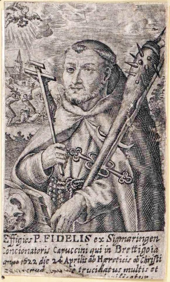 Der heilige Fidelis von Sigmaringen, Stich um 1690 (Vorlage: Kreisarchiv Zollernalbkreis)